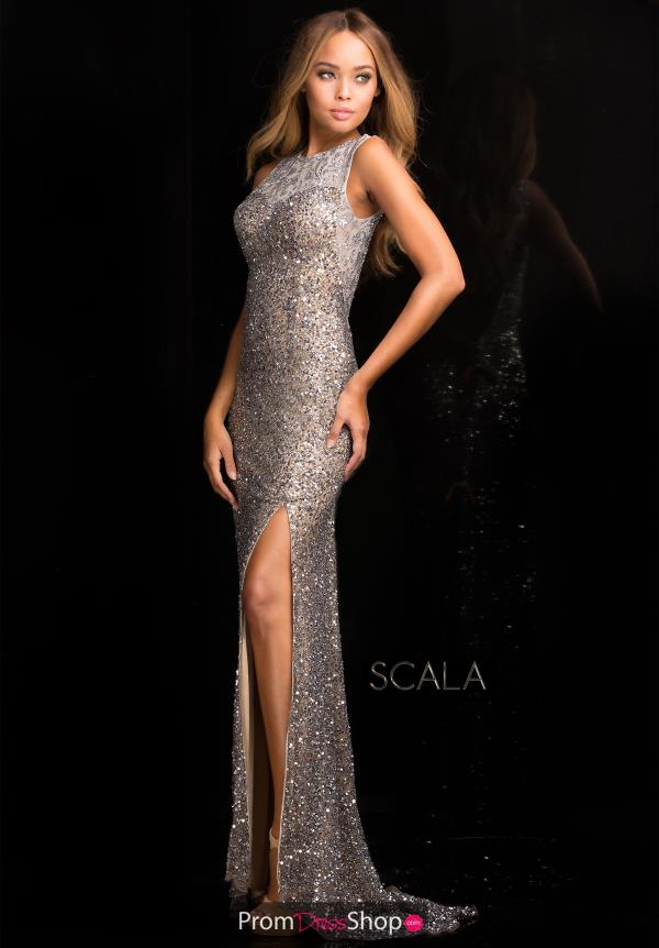 Scala Fitted High Neckline Dress 48694