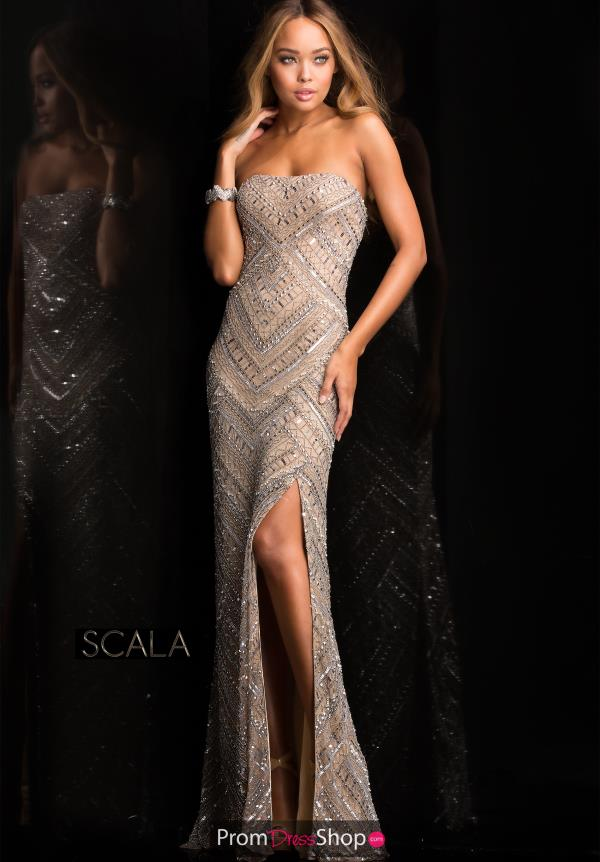 Beaded Long Dress by Scala 48705
