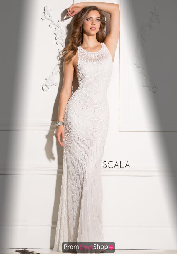 Scala Beaded Scoop Long Dress 48714