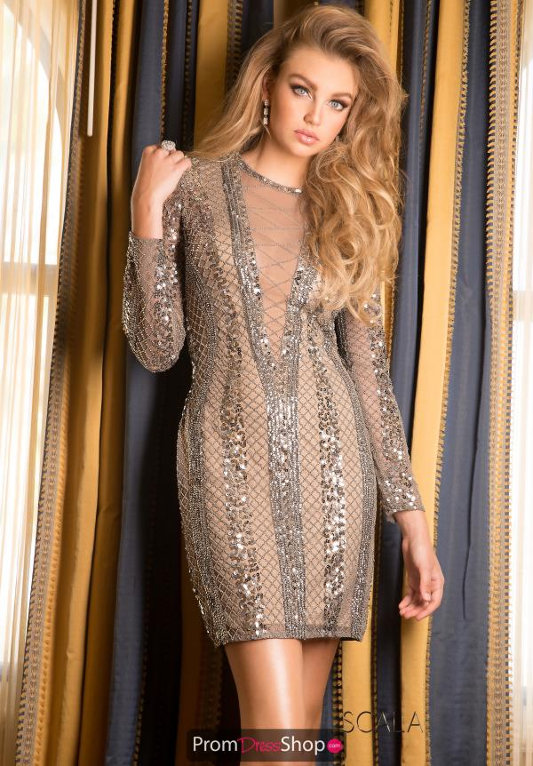 Scala Long Sleeved Short Dress 48728