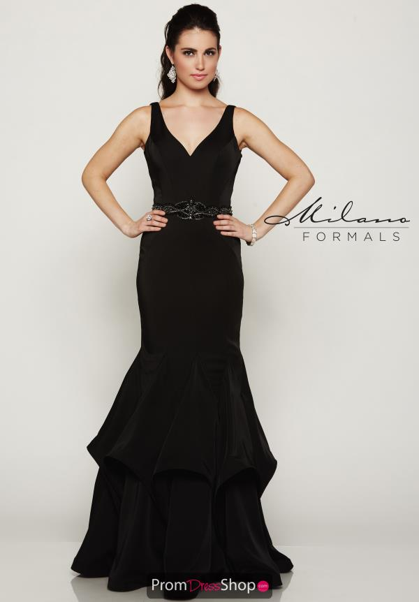 Milano Formals Long Black Dress E2064