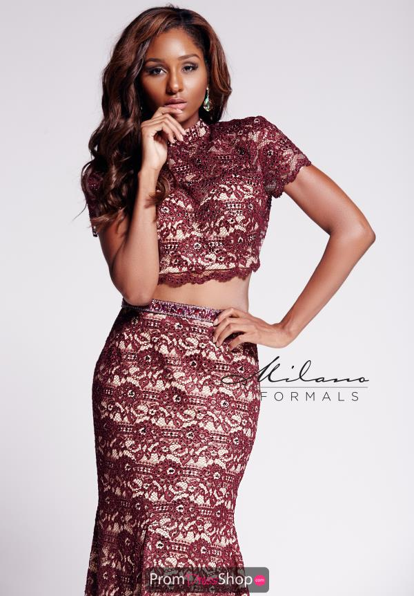 Milano Formals Sleeved Lace Dress E2089