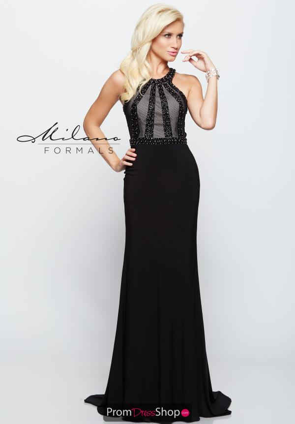 Milano Formals High Neckline Beaded Dress E2098