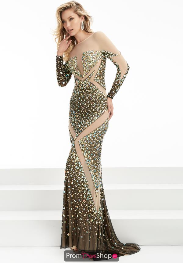 Jasz Couture Sleeved Fitted Dress 5906
