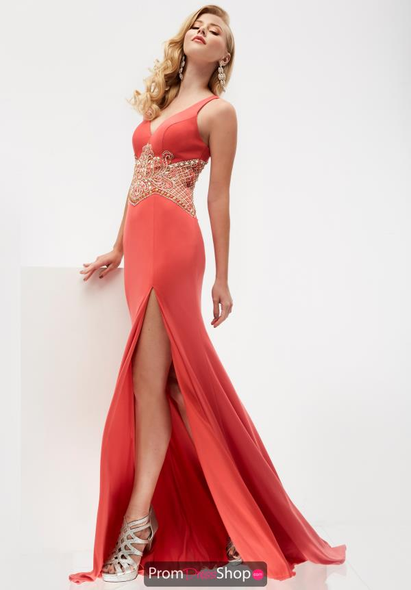 Jasz Couture V-Neck Beaded Dress 5946
