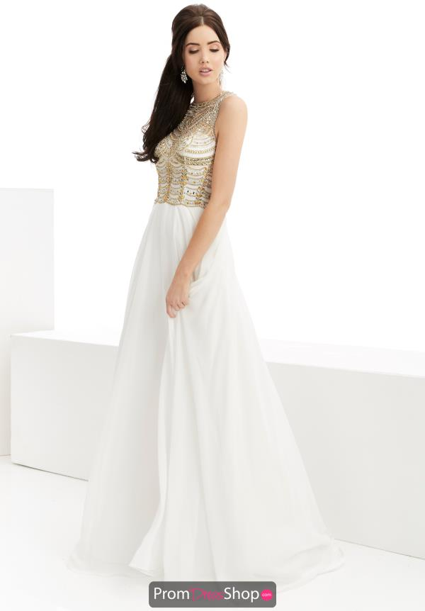 Jasz Couture Chiffon Ivory Dress 5957