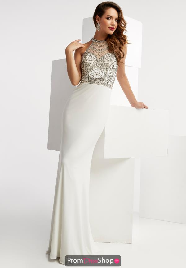 Beaded Ivory Jasz Couture Dress 6054