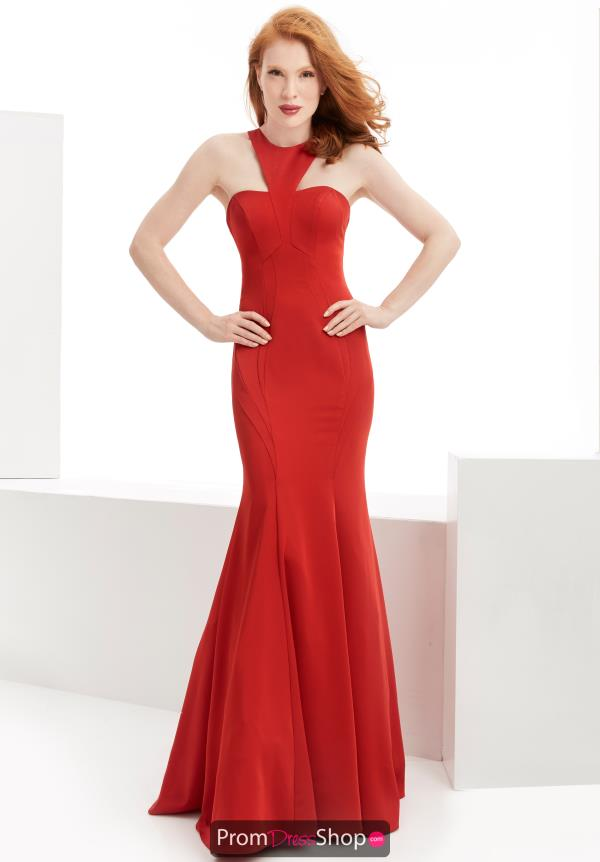 Jasz Couture Fitted Red Dress 6062