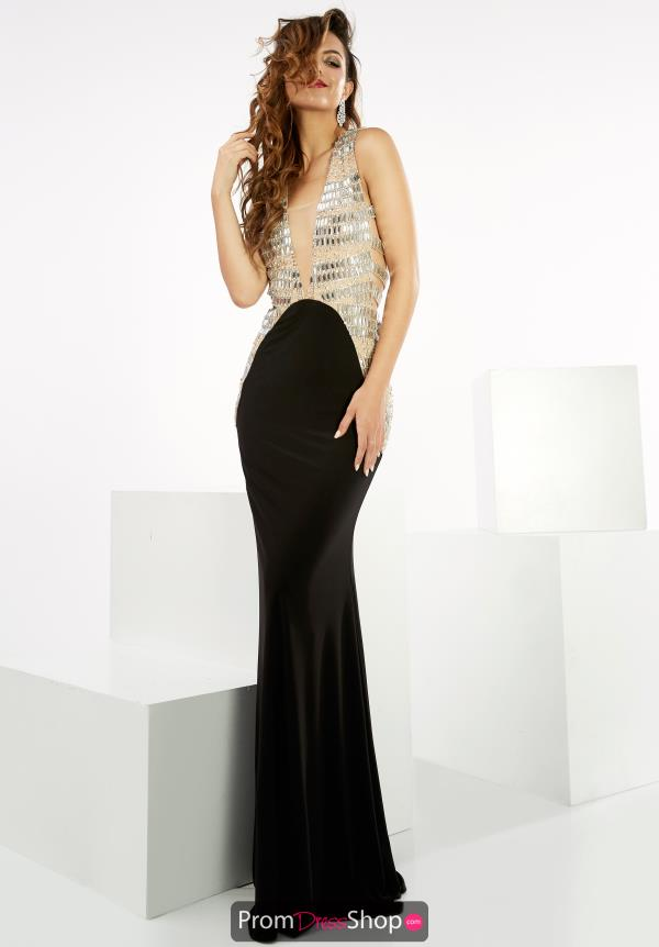 V- Neckline Fitted Jasz Couture Dress 6065
