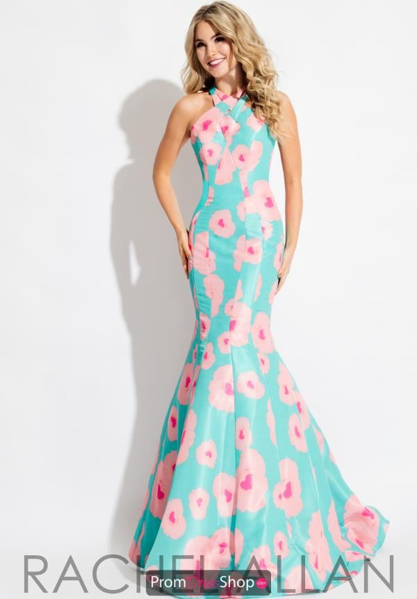 Rachel Allan High Neckline Long Dress 7660