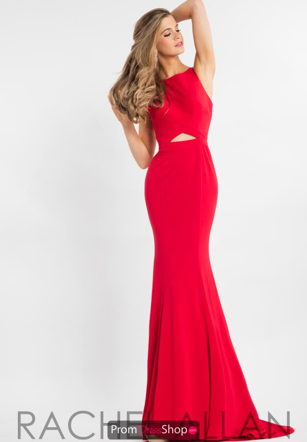 Rachel Allan Fitted High Neckline Dress 7675