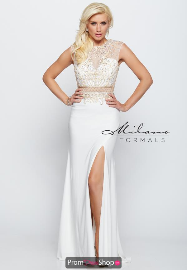Milano Formals Long Ivory Dress E2009