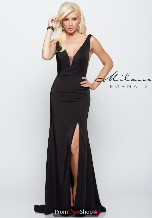 Milano Formals Black Fitted Dress E2044