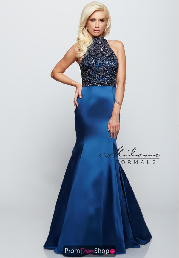 Milano Formals High Neckline Beaded Dress E2068