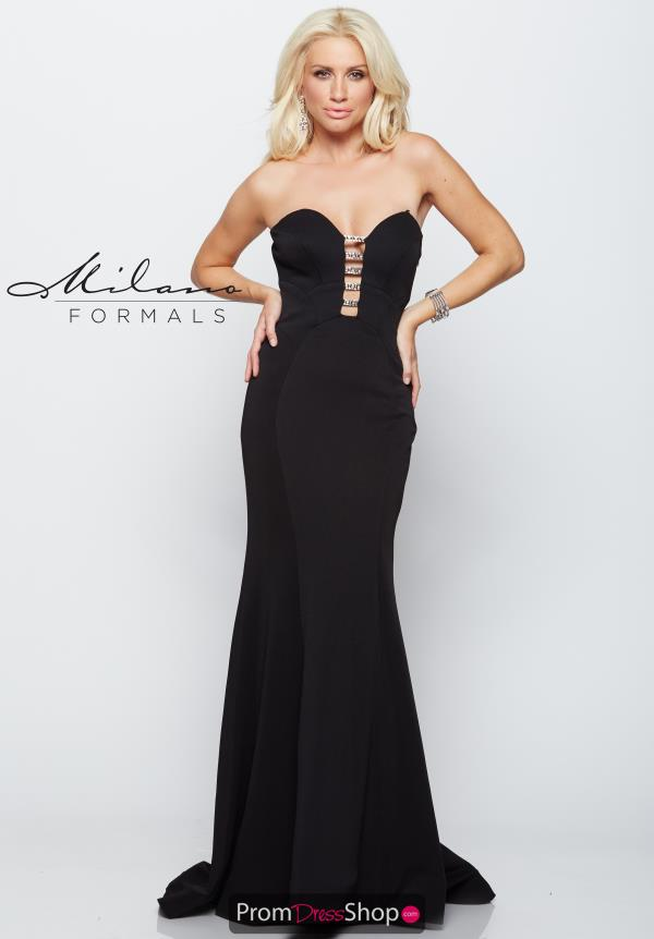 Milano Formals Fitted Black Dress E2102