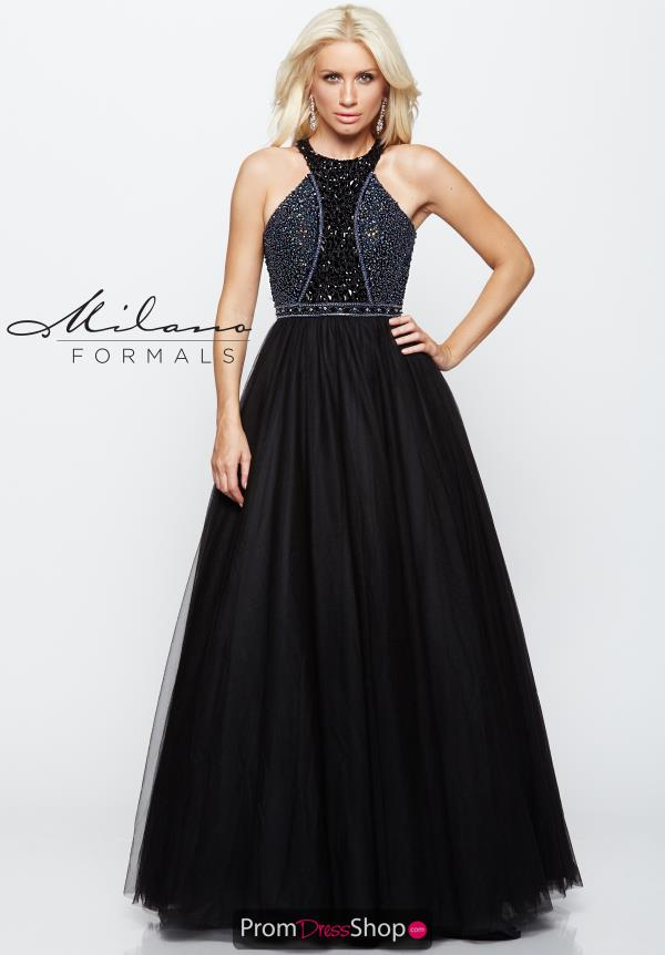 Milano Formals Long Black Dress E2104