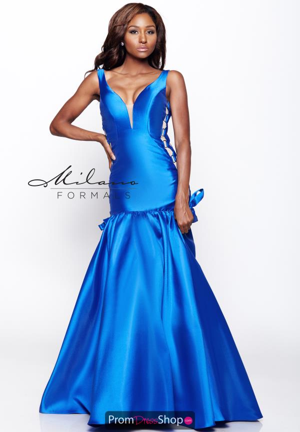 Milano Formals V- Neckline Blue Dress E2114