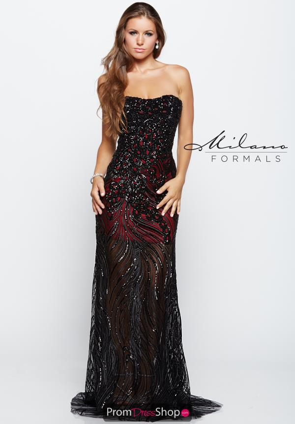 Strapless Beaded Milano Formals Dress E2117