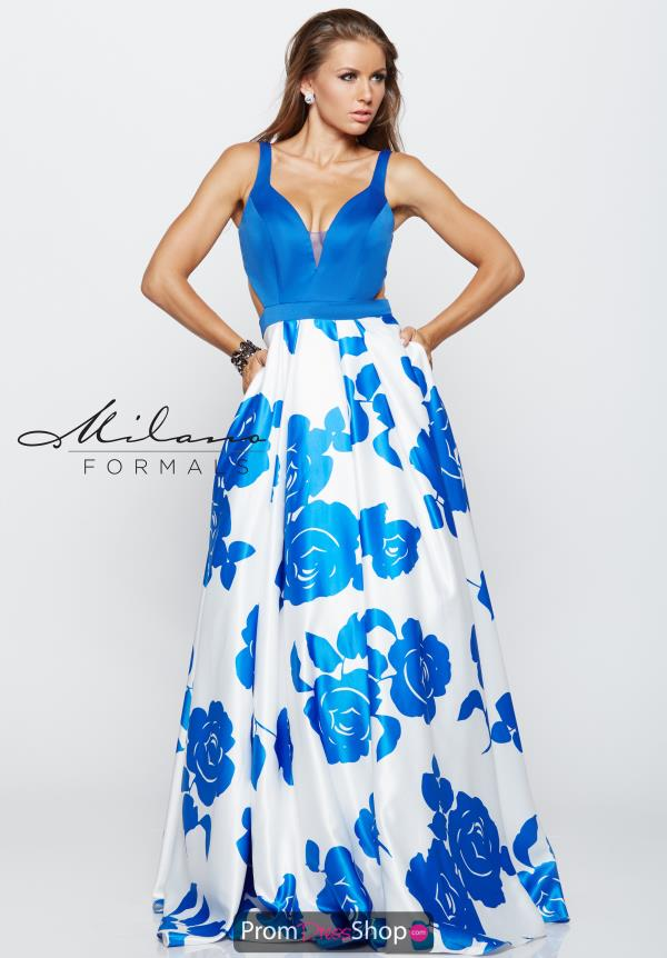 Milano Formals Long Print Dress E2159