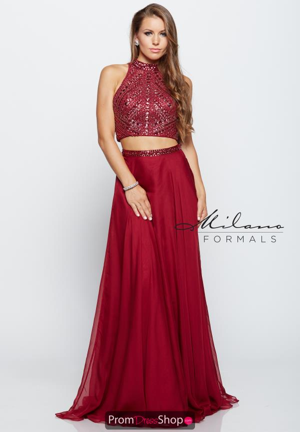 Two Piece Beaded Milano Formals Dress E2178