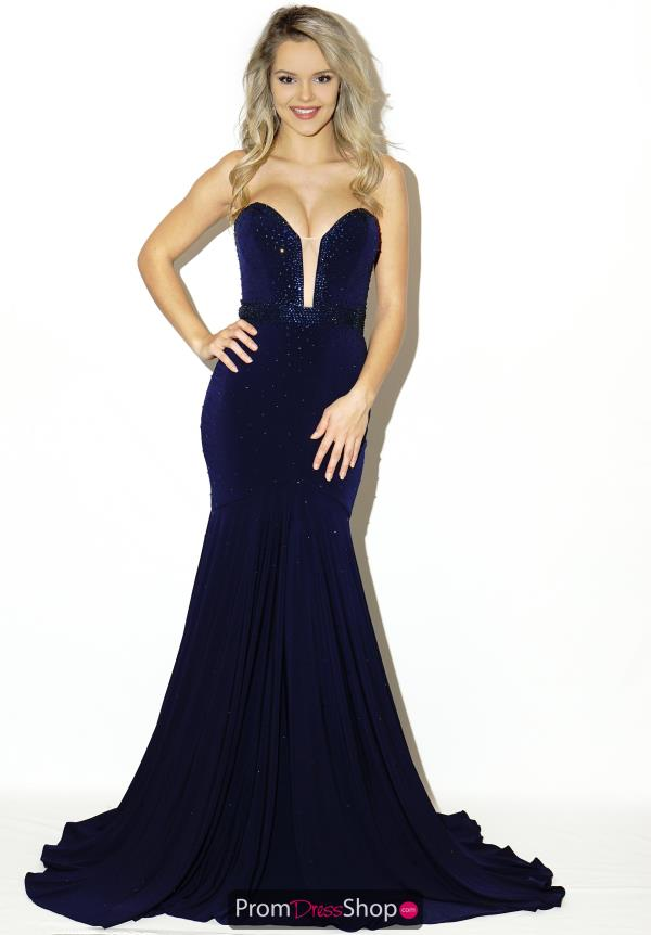 Jovani Sweetheart Neckline Long Navy Dress 33058