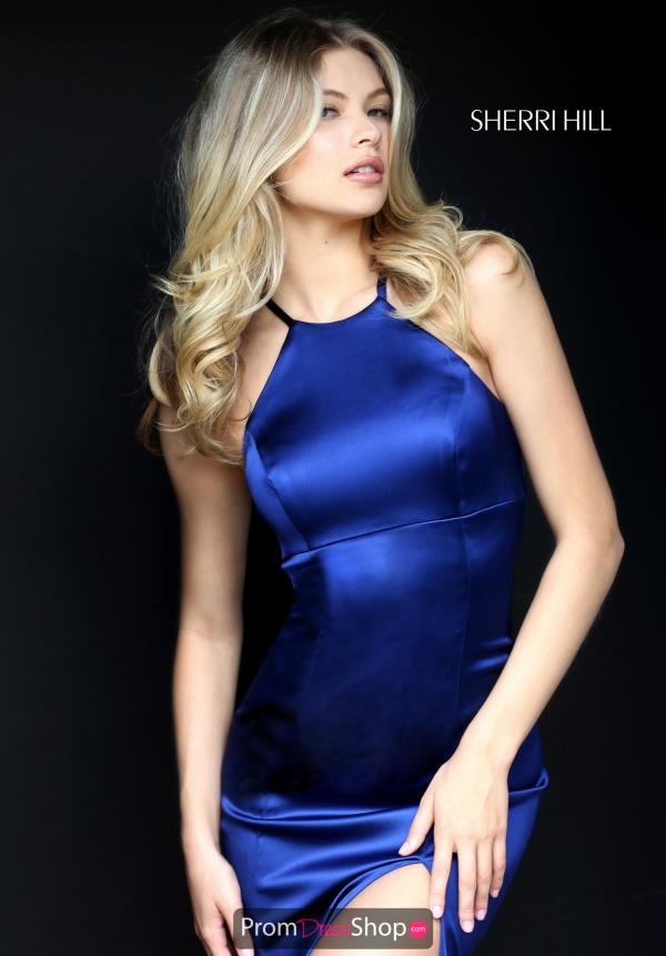 Sherri Hill High Neckline Satin Dress 50869