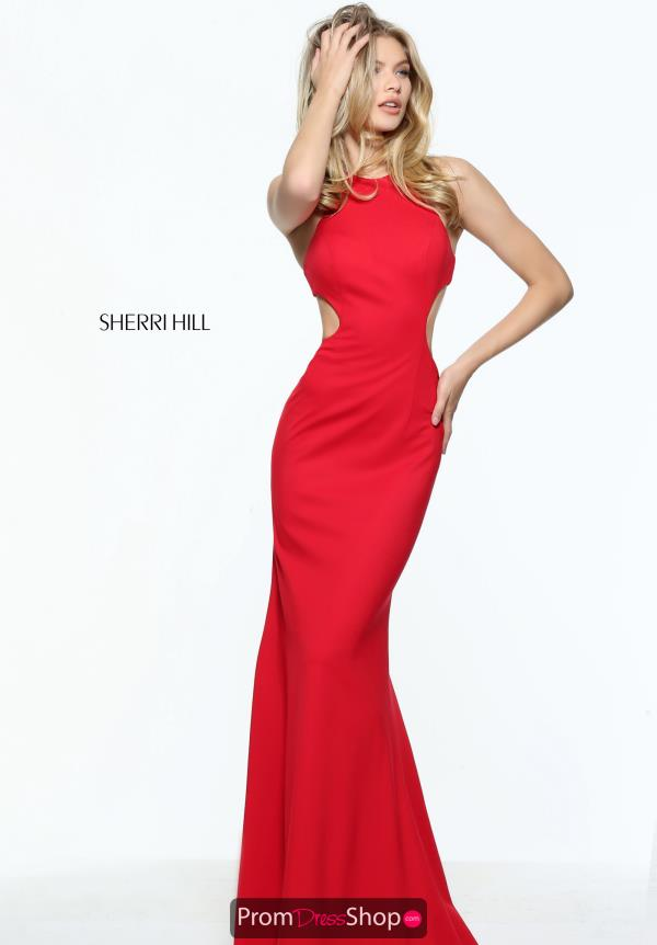 Sherri Hill High Neckline Red Long Dress 51070