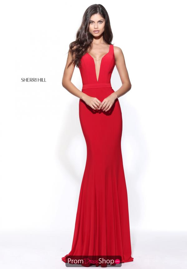 Sherri Hill V-Neck Winter Formal Long Dress 51096