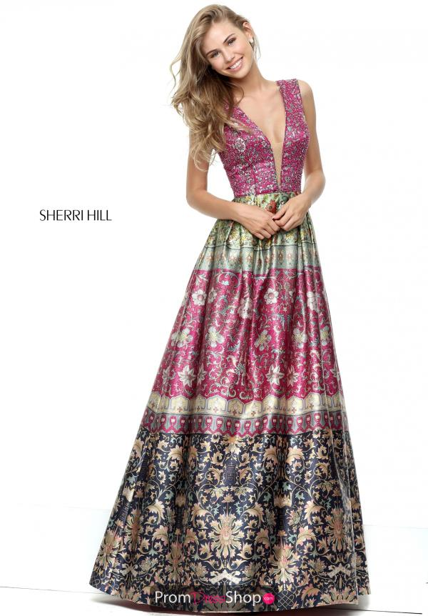 Sherri Hill A Line Print Dress 50780