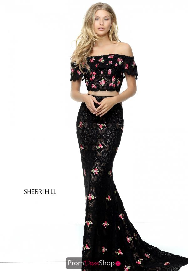 Sherri Hill Sleeved Long Dress 50785