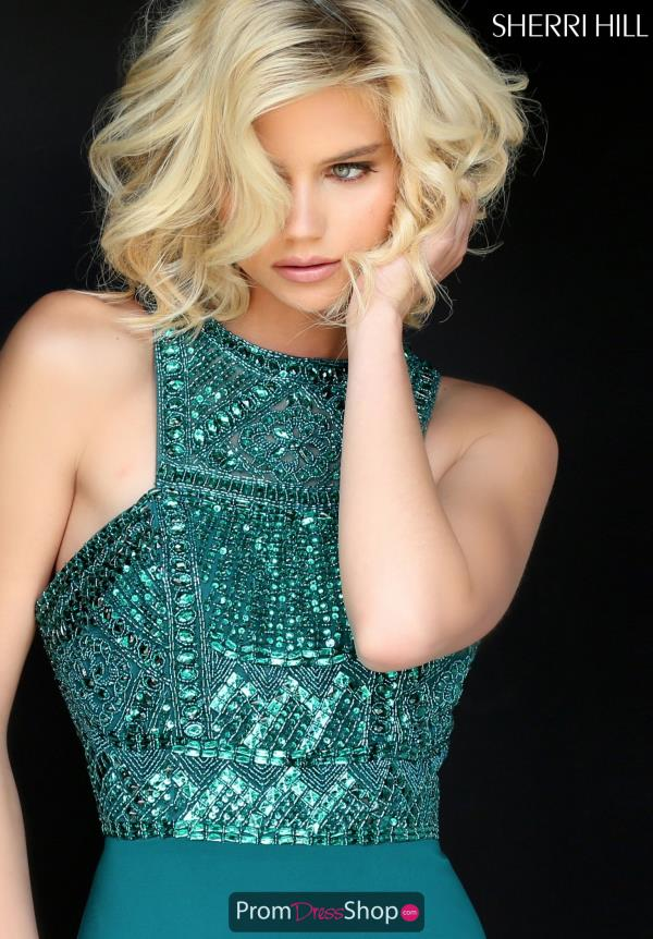 Sherri Hill Long Green A Line Dress 50806