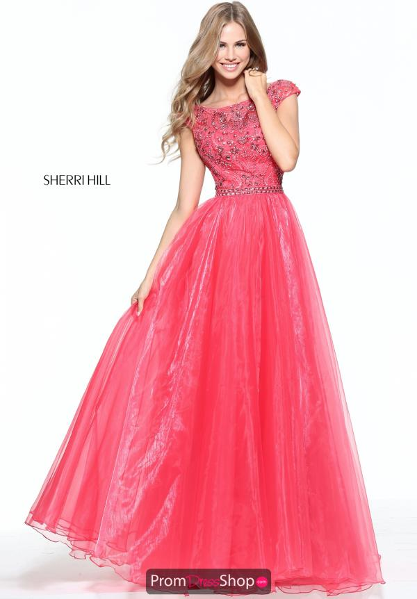 Sleeved A Line Sherri Hill Dress 50954