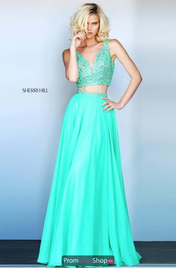 Sherri Hill A Line Green Long Dress 51008