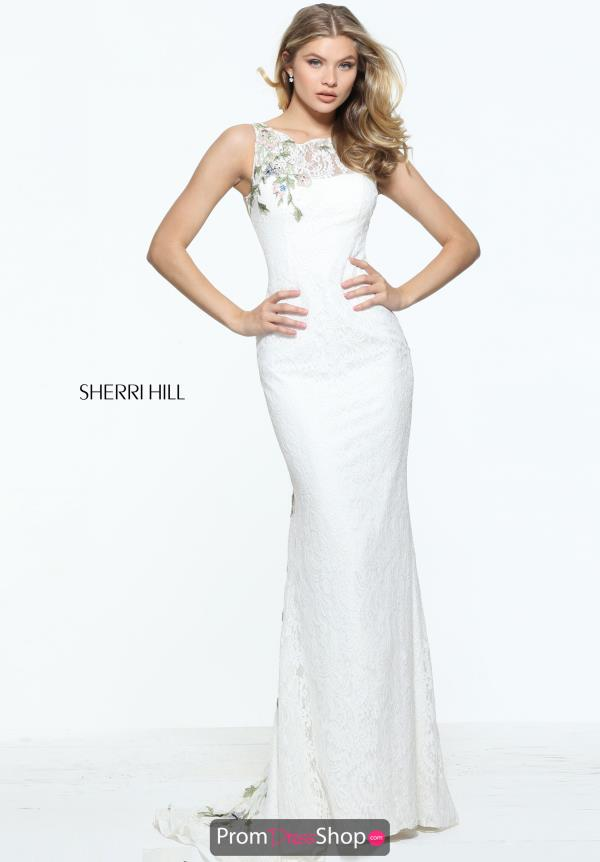 Sherri Hill Fitted Ivory Dress 51026