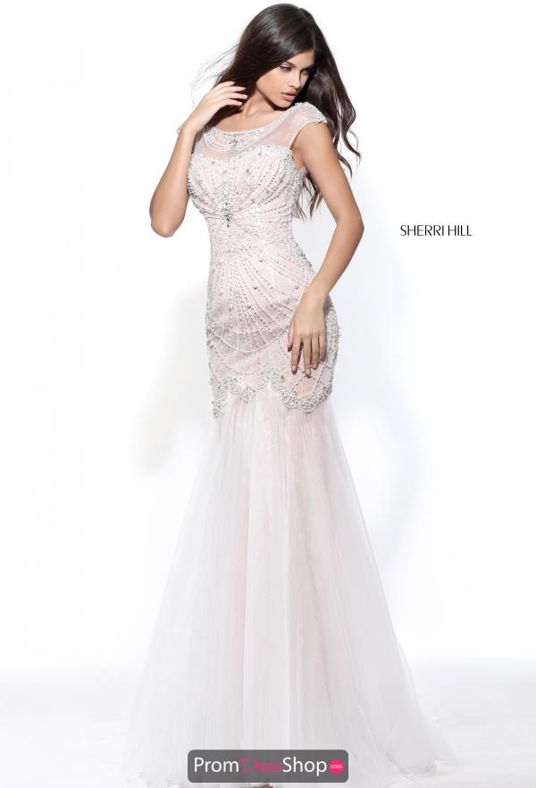 Cap Sleeved Beaded Sherri Hill Dress 51047