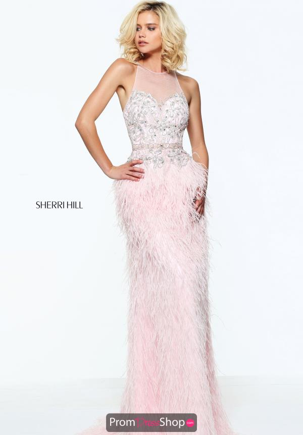 Sherri Hill Hight Neckline Beaded Dress 51048