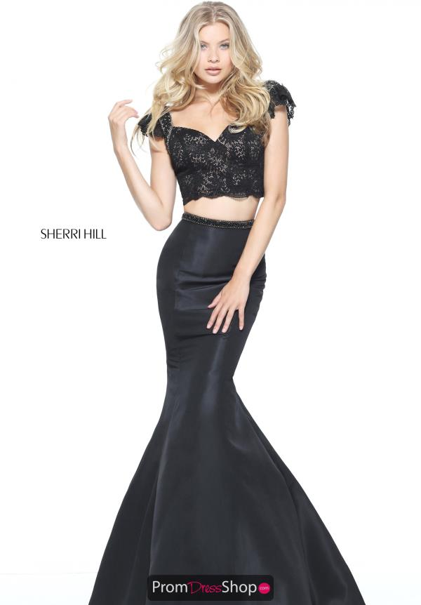 Sherri Hill Two Piece Sleeved Dress 51230