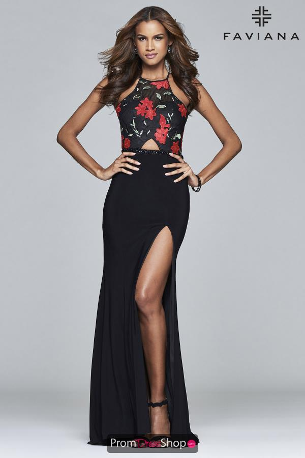 Faviana Black Fitted Dress 7952