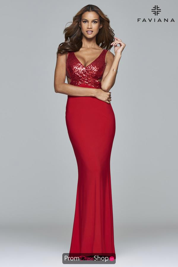 Faviana V- Neckline Fitted Dress 7992