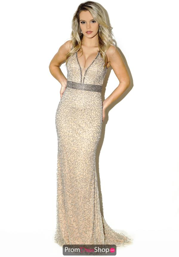 Two Straps Beaded Jasz Couture Dress 5684