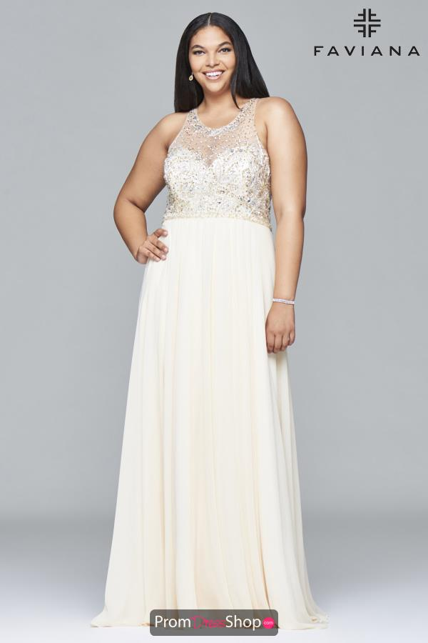 Faviana Beaded A Line Dress 9374