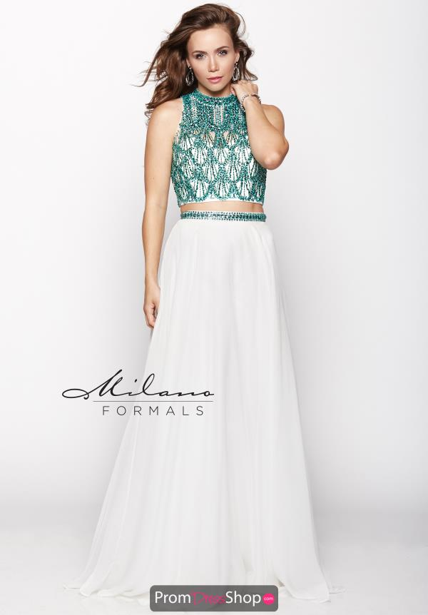 Milano Formals Two Piece White Dress E1955