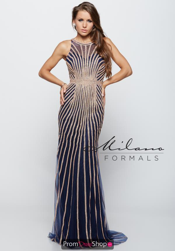 Milano Formals High Neckline Beaded Dress E1971