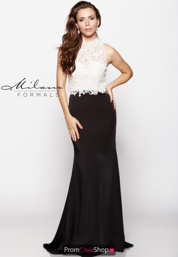 Milano Formals High Neckline White Dress E2048