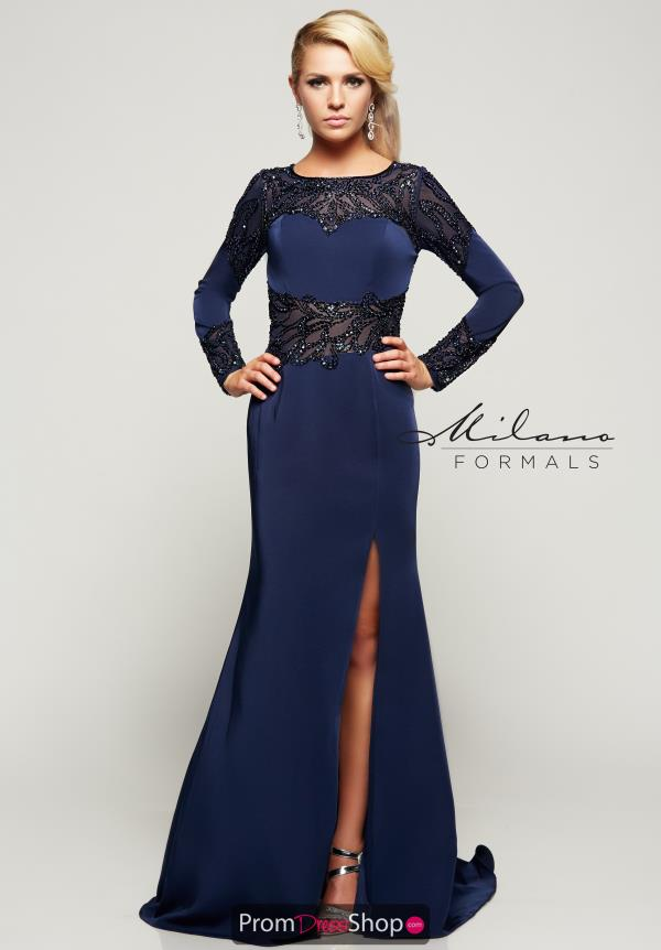 High Neckline Winter Formal Fitted Milano Formals Dress E2074