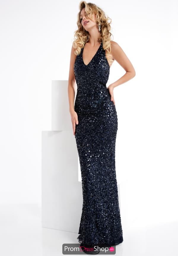 Jasz Couture Fitted Open Back Dress 1329