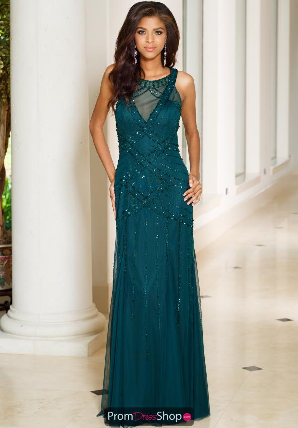 Sean High Neckline Green Long Dress 50992