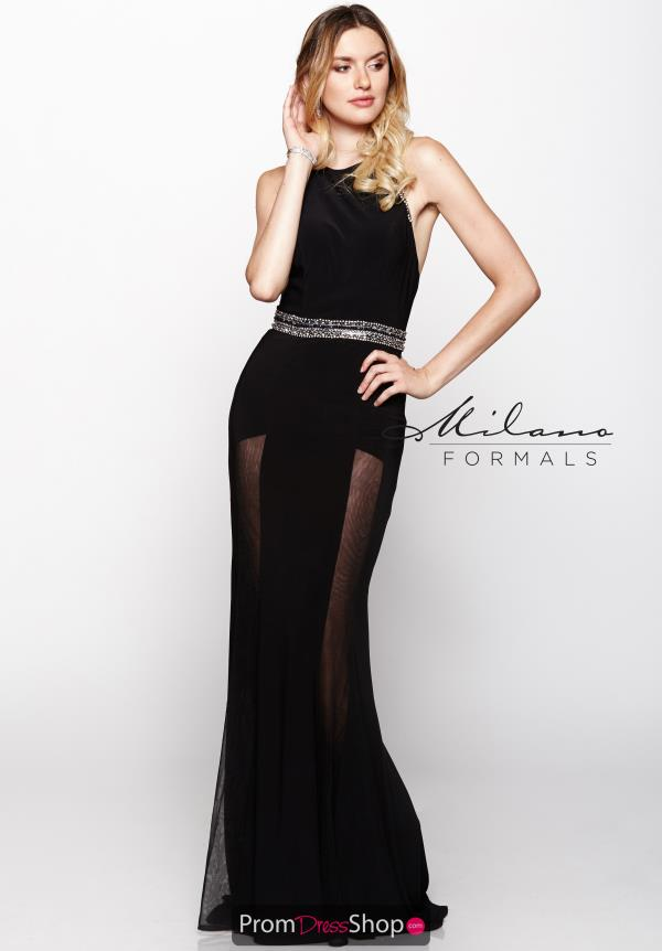 Milano Formals Black Fitted Dress E2031