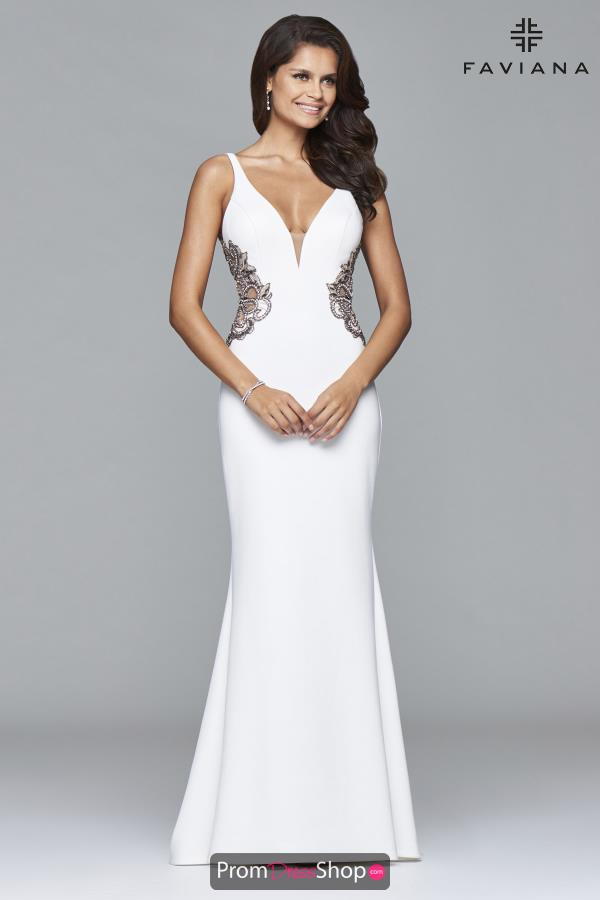 Faviana Long V- Neckline Dress S7916