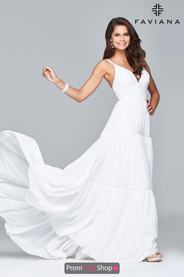 Faviana V Neck Chiffon Dress S7933